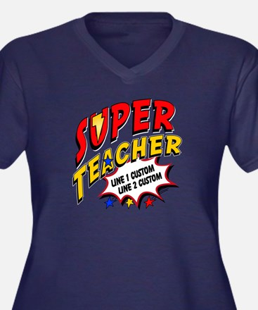 Teacher Supe Women's Plus Size V-Neck Dark T-Shirt