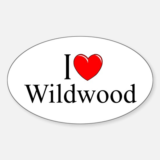"""I Love Wildwood"" Oval Decal"
