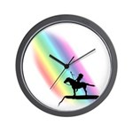 Sioux Warrior Rainbow Silhouette Wall Clock