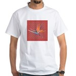 Pink Bird of Paradise White T-Shirt