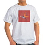 Pink Bird of Paradise Ash Grey T-Shirt