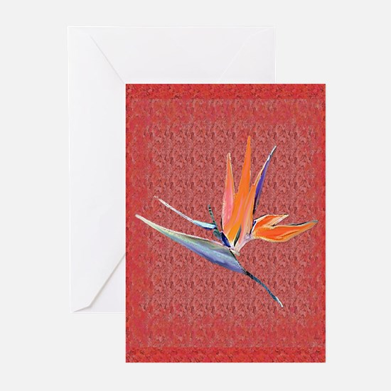 Pink Bird of Paradise Greeting Cards