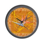Gold Bird of Paradise Wall Clock