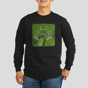 """Smile!"" Dragonfly-- Long Sleeve Dark T-Shirt"