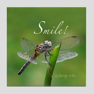 """Smile!"" Dragonfly--  Tile Coaster"