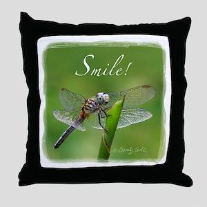"""""""Smile!"""" Dragonfly--  Throw Pillow"""
