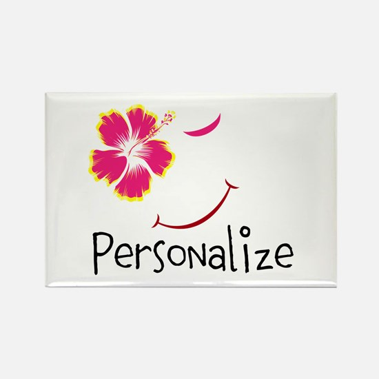 Personalizable,Hibiscus Smile Rectangle Magnet