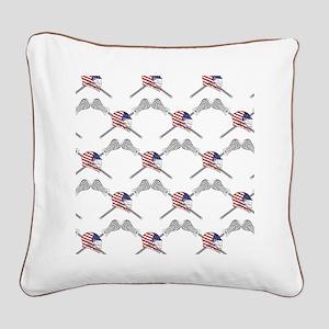 American Flag Lacrosse Helmet Square Canvas Pillow