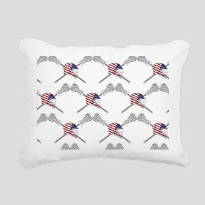 American Flag Lacrosse H Rectangular Canvas Pillow