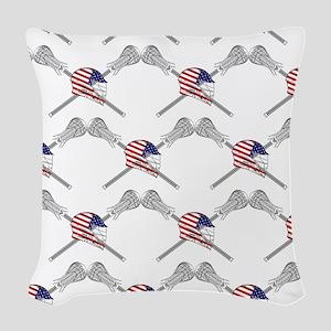 American Flag Lacrosse Helmet Woven Throw Pillow