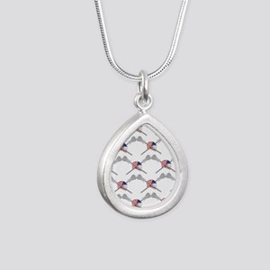 American Flag Lacrosse H Silver Teardrop Necklace