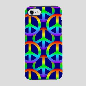 Rainbow Peace Sign Pattern iPhone 7 Tough Case