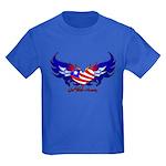 God Bless America Heart Flag Kids Dark T-Shirt