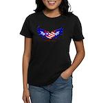 God Bless America Heart Flag Women's Dark T-Shirt