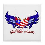 God Bless America Heart Flag2 Tile Coaster