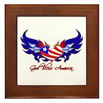 God Bless America Heart Flag2 Framed Tile