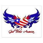 God Bless America Heart Flag2 Small Poster