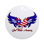 God Bless America Heart Flag2 Ornament (Round)