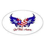 God Bless America Heart Flag2 Oval Sticker