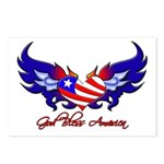 God Bless America Heart Flag2 Postcards (Package