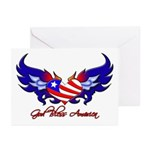 God Bless America Heart Flag2 Greeting Cards (Pac