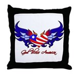 God Bless America Heart Flag2  Throw Pillow
