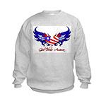 God Bless America Heart Flag2 Kids Sweatshirt