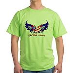 God Bless America Heart Flag2 Green T-Shirt