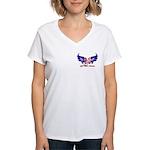 God Bless America Heart Flag2 Women's V-Neck T-Sh