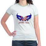 God Bless America Heart Flag2 Jr. Ringer T-Shirt