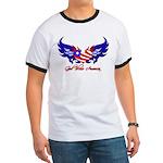 God Bless America Heart Flag2 Ringer T