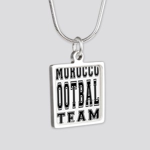 Morocco Football Team Silver Square Necklace