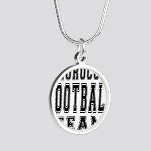 Morocco Football Team Silver Round Necklace