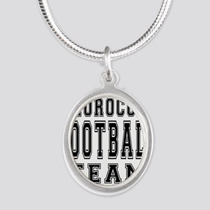 Morocco Football Team Silver Oval Necklace