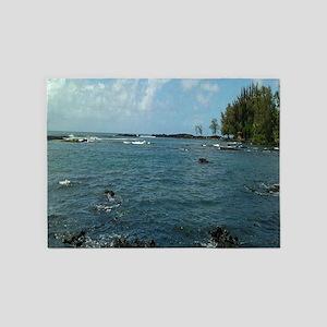 Blue Ocean Lava Beach Hawaii Photog 5'x7'Area Rug