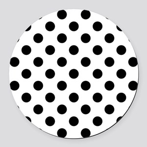 Black and White Polka Dots Round Car Magnet