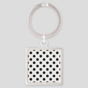 Black and White Polka Dots Square Keychain