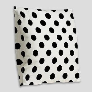 Black and White Polka Dots Burlap Throw Pillow