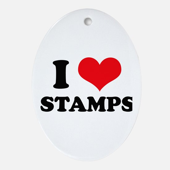I Love (Heart) Stamps Oval Ornament