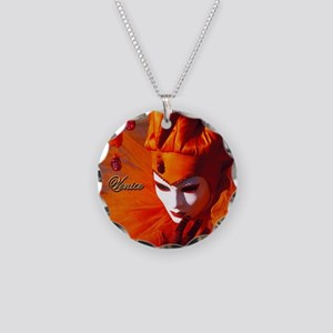 Orange Carnival Mask Necklace