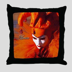 Orange Carnival Mask Throw Pillow