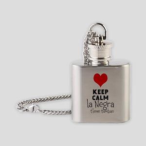 Keep calm la negra tiene tumbao Flask Necklace
