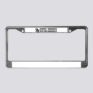 DEMOS SUPPORT TERRORISTS License Plate Frame