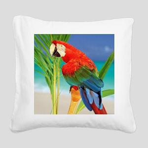 Parrot Square Canvas Pillow