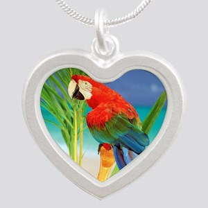 Parrot Silver Heart Necklace