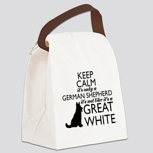 German Shephered NOT a Great Whit Canvas Lunch Bag