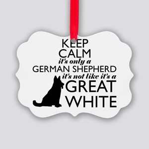 German Shephered NOT a Great Whit Picture Ornament