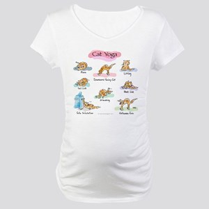 Cat YOGA POSES Maternity T-Shirt
