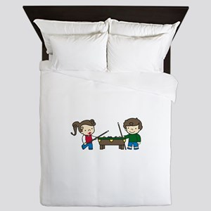 Billiards Players Queen Duvet