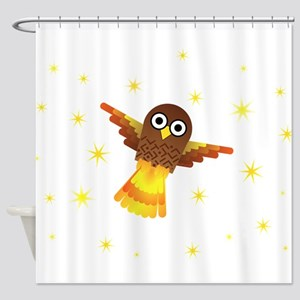 Rocket Owl Shower Curtain